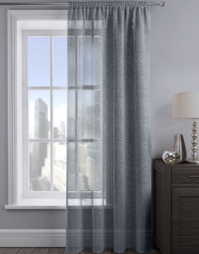 SHIMMER GLITTER SLOT TOP READY MADE STYLISH LIGHT NET VOILE CURTAIN CHARCOAL COLOUR